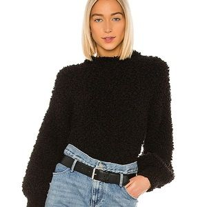 1 state poodle texture sweater black mock neck